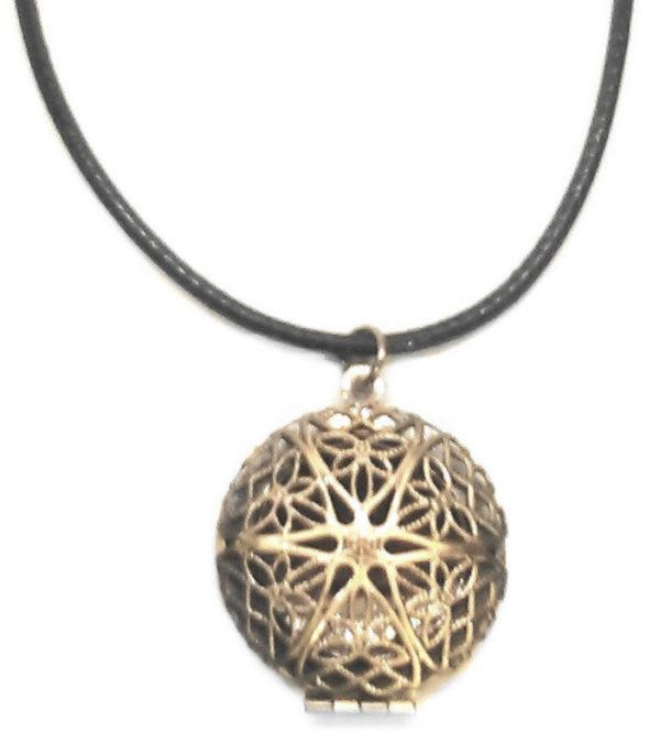 Bronze Locket Cord Necklace
