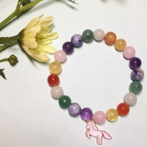 Tri-colour unicorn elastic bracelet