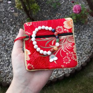 White Howlite rainbow elastic bracelet with charm