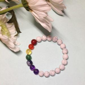 White Howlite rainbow elastic bracelet without charm