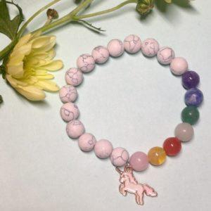 White Howlite unicorn elastic bracelet