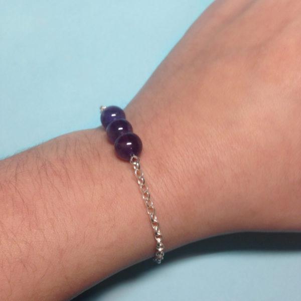 Amethyst crystal chain bracelet