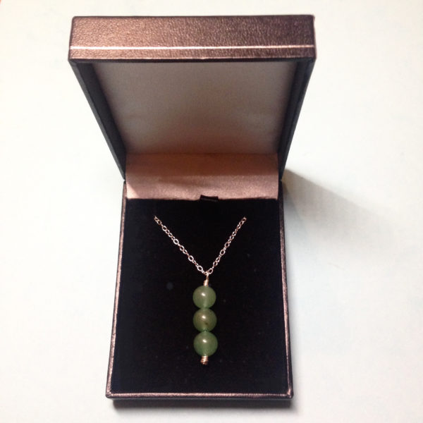 Aventurine triple crystal bead necklace