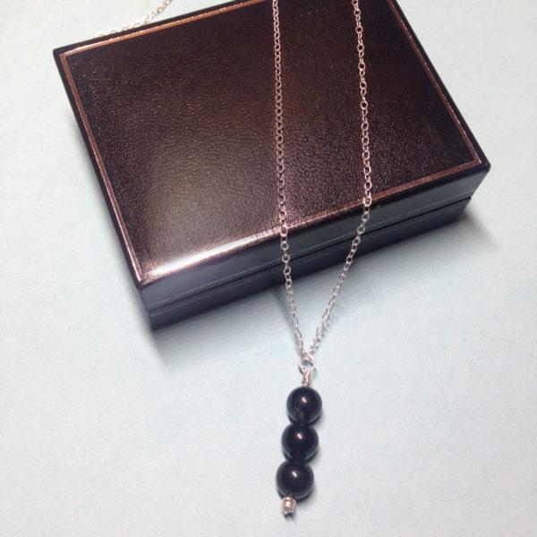 Black Obsidian triple crystal bead necklace