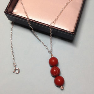 Red Jasper triple bead necklace