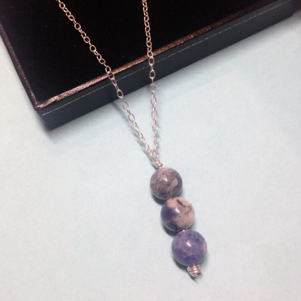 Sodalite triple bead necklace